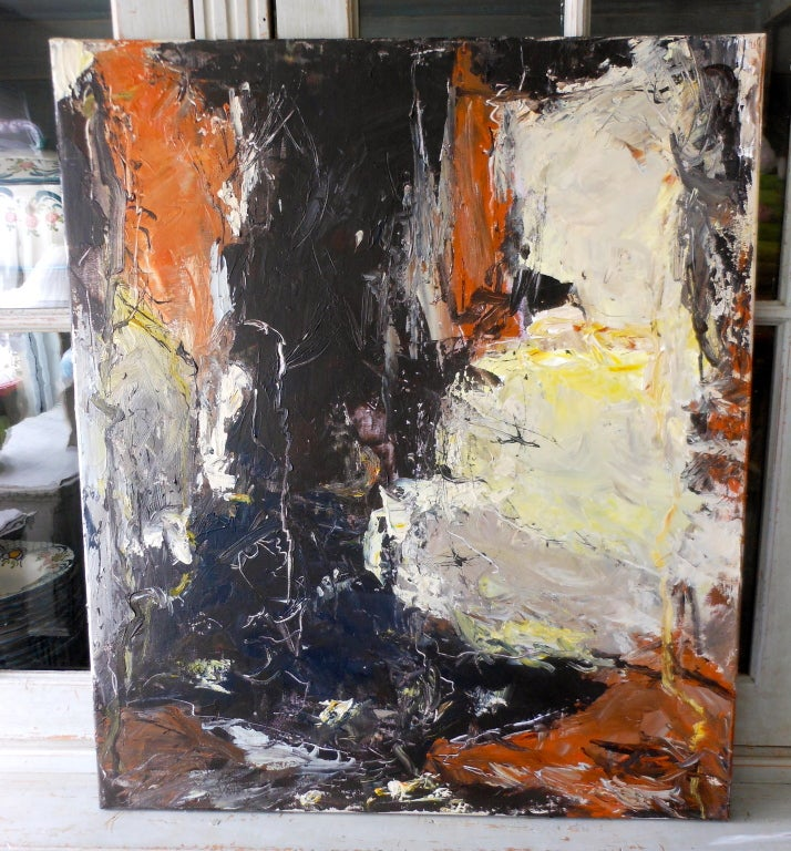Abstract Expressionist oil painting by John Hansen born 1953 in Denmark. Abstract painting from the Artist's Series,
