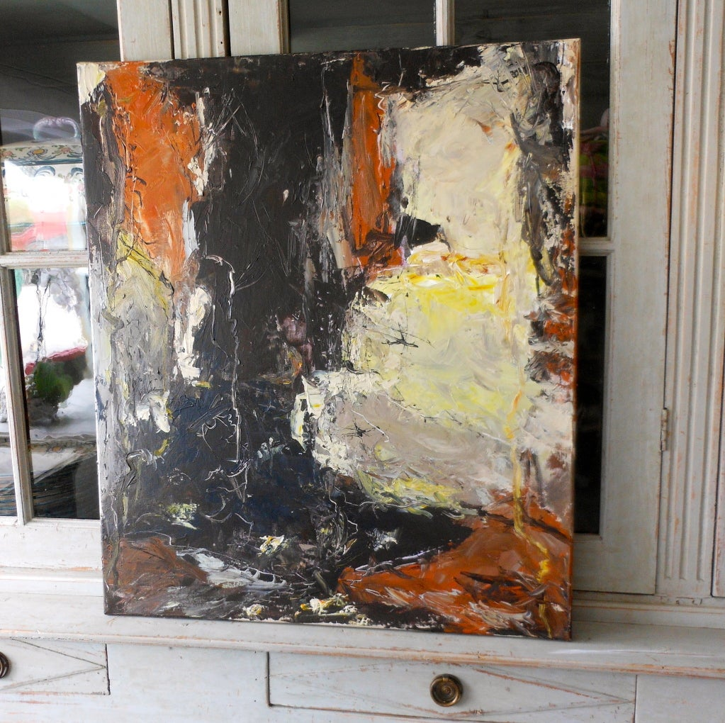 Scandinavian Modern Danish Abstract Expressionist Oil Painting by John Hansen For Sale
