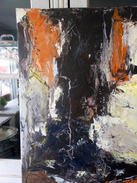 Danish Abstract Expressionist Oil Painting by John Hansen In Excellent Condition For Sale In West Palm Beach, FL