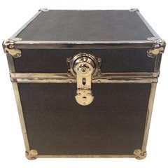 Polished Chrome Faux Shagreen Slate Blue Trunk