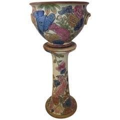Weller Rare Ceramic Parrot Jardiniere Pedestal