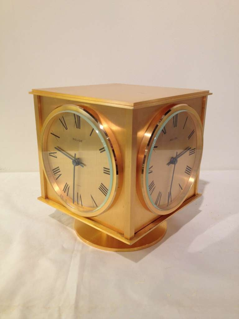 Relide French Four Time Zone Sided Clock Rare For Sale at ...