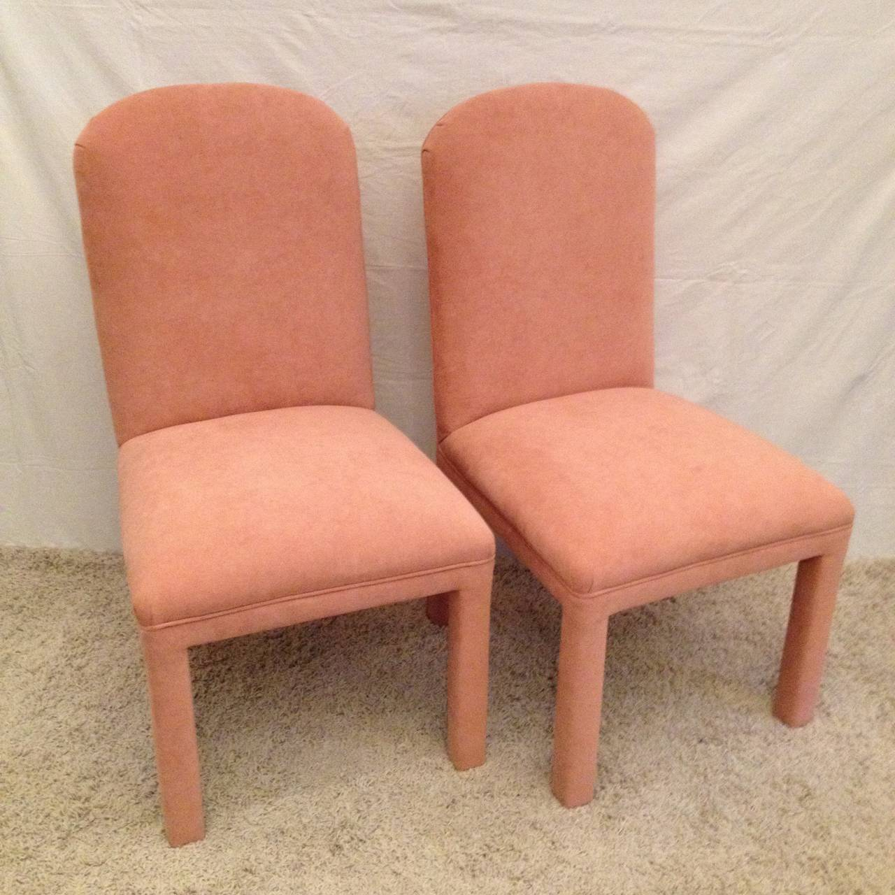 20th Century Set of Six Dining Chairs Ultrasuede For Sale