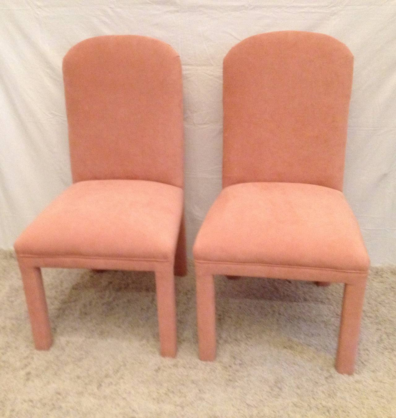 Fabric Set of Six Dining Chairs Ultrasuede For Sale