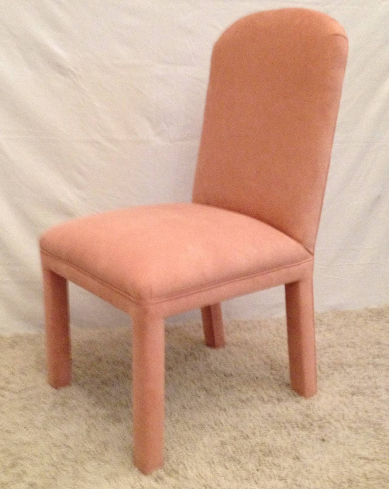 Mid-Century Modern Set of Six Dining Chairs Ultrasuede For Sale