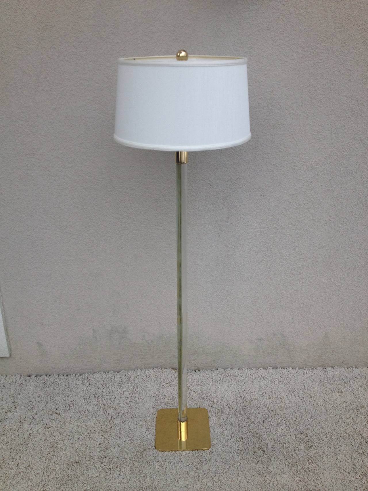 Pair of Hansen NY Glass Rod Brass Standing lamps at 1stdibs