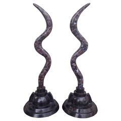 Pair of Fossil Stone Marcius for Casa Bique  Antler Sculptures