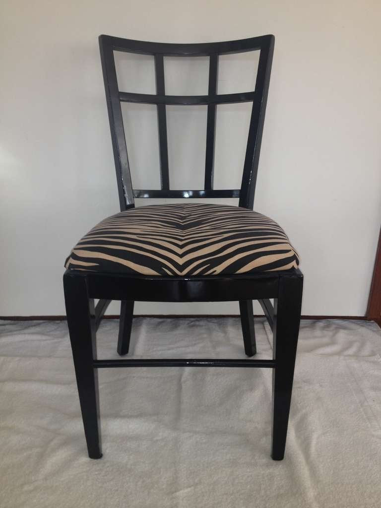 Set of 6 black lacquer 6 square design back cafe Carlyle chairs.  One back with a slight square designed back difference in size not very obvious, circa 1930's-1940's.