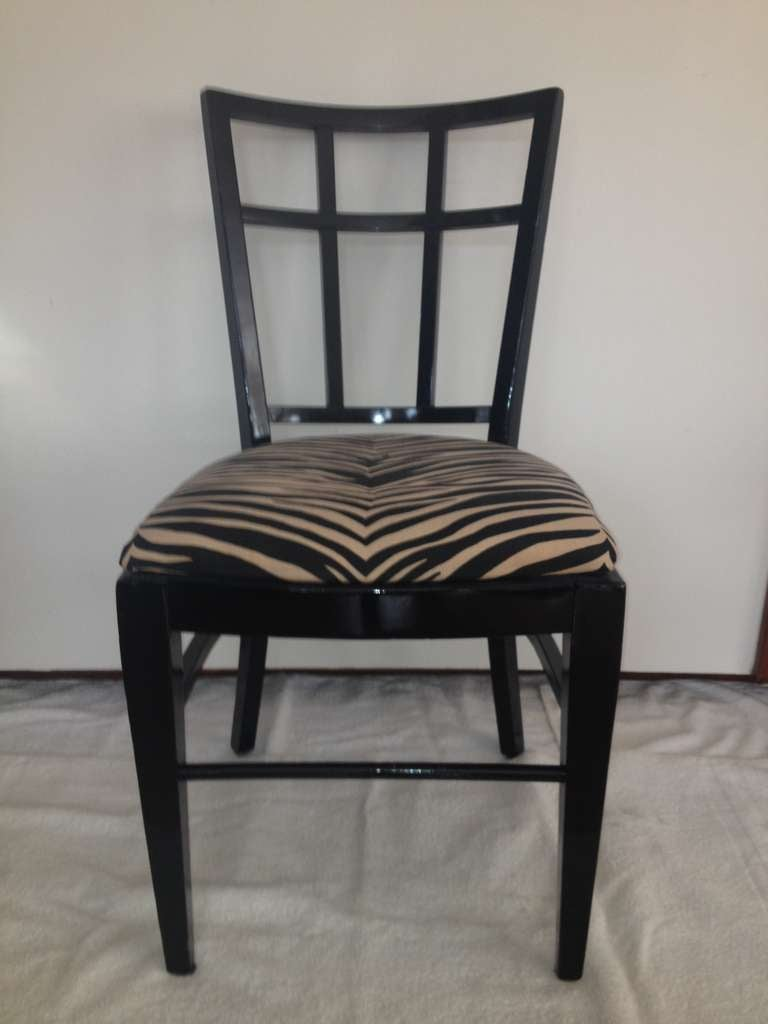 Wood Cafe Carlyle Set of Six Black Lacquer Dining Chairs For Sale