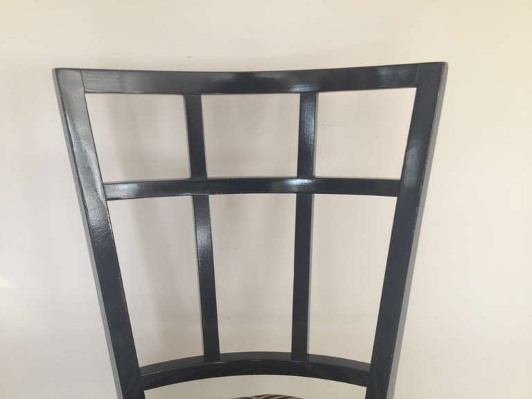 Cafe Carlyle Set of Six Black Lacquer Dining Chairs In Excellent Condition For Sale In Westport, CT