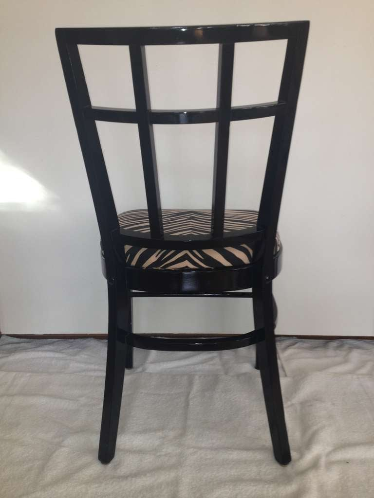 American Cafe Carlyle Set of Six Black Lacquer Dining Chairs For Sale