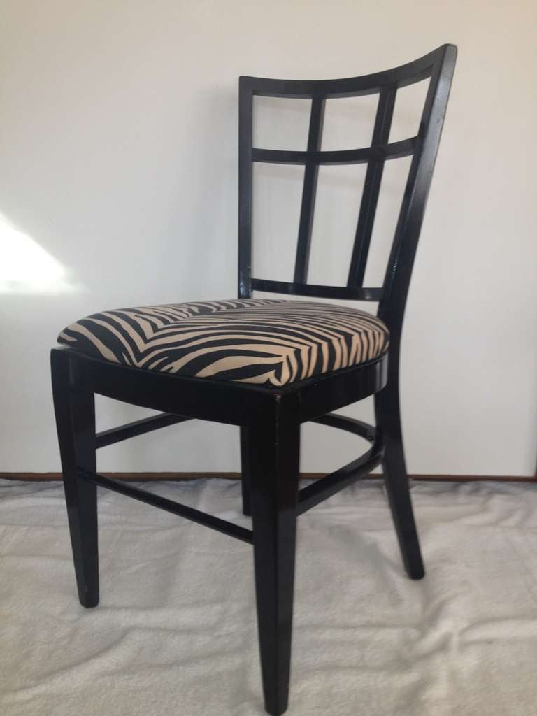 Mid-Century Modern Cafe Carlyle Set of Six Black Lacquer Dining Chairs For Sale