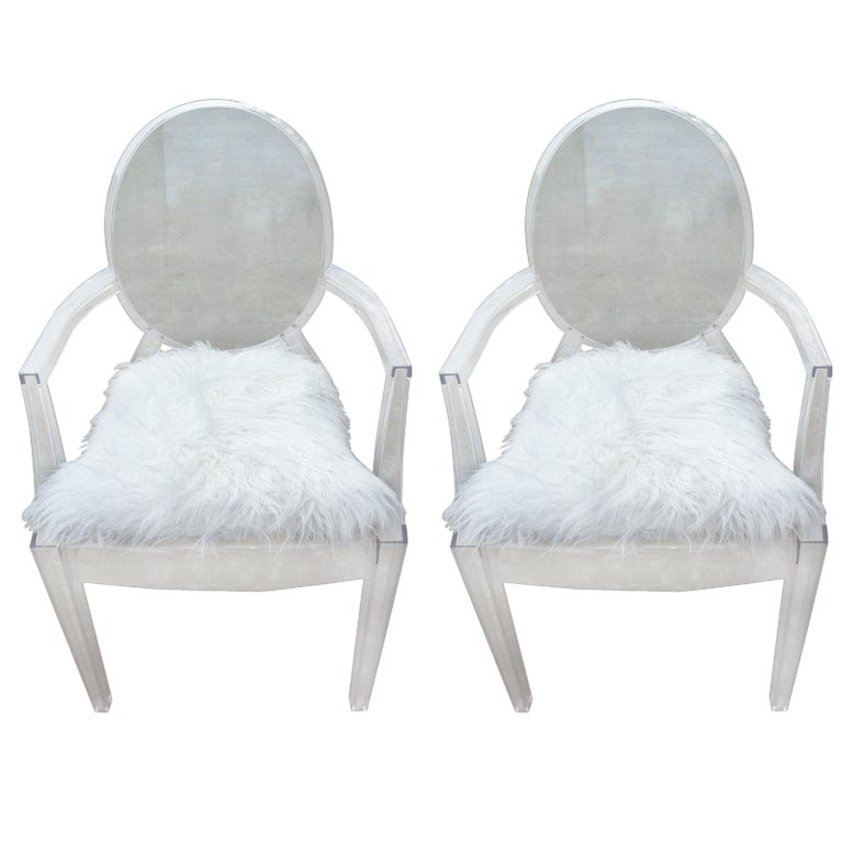 Exceptional Pair Philippe Starck Louis Ghost Chairs 1