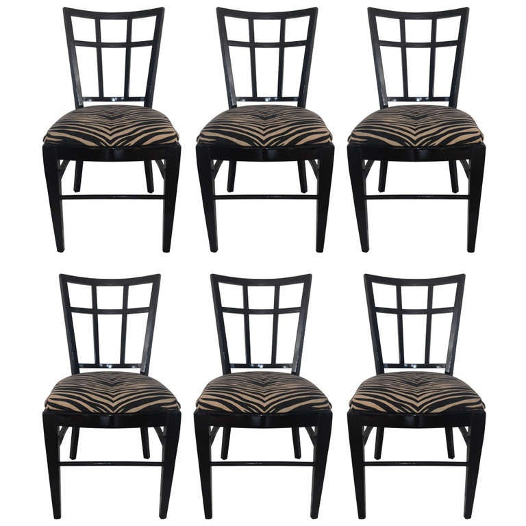 Cafe Carlyle Set of Six Black Lacquer Dining Chairs For Sale