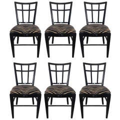 Cafe Carlyle Set of Six Black Lacquer Dining Chairs