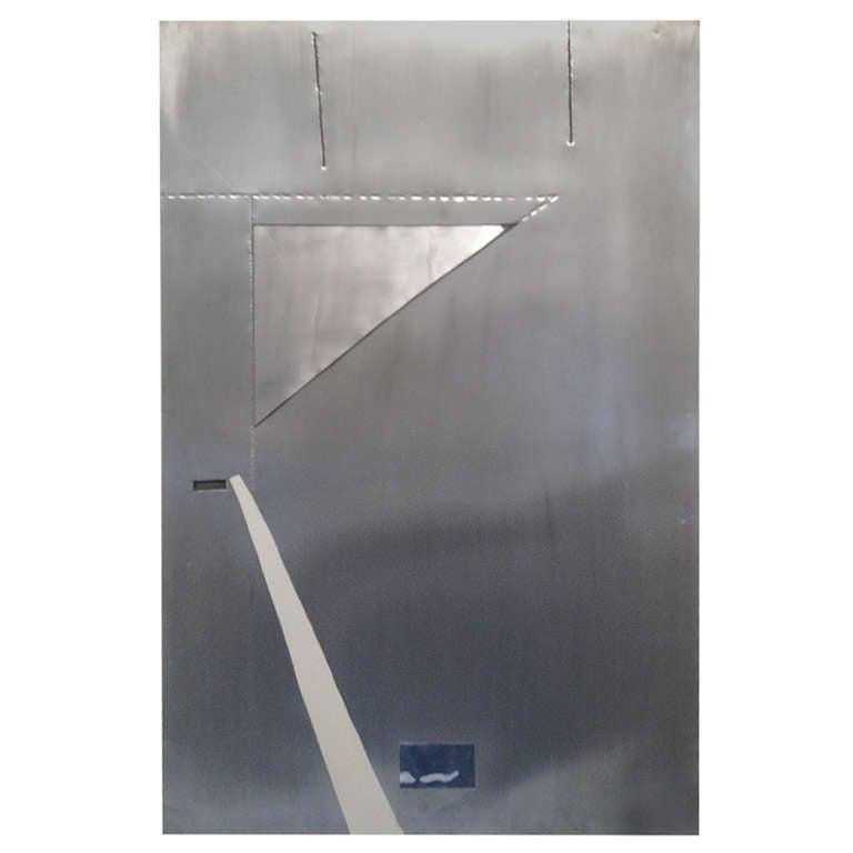Shin Kuno Steel  Modernist Wall Sculpture Gallery Dache  paper label