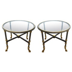 Pair Signed Trouvailles Glass Hollywood Regency Petite Tables