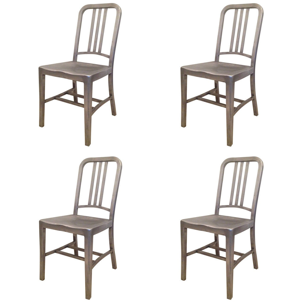Emeco Set Of Four Vintage Navy Chairs For Sale At 1stdibs