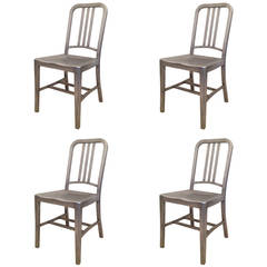 emeco set of four vintage navy chairs
