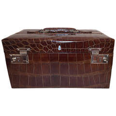 Mark Cross Embossed Alligator Travel Case with Cover