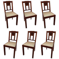 European Art Deco Mahogany Set 6 Dining Chairs