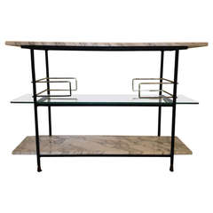 Salterini Marble Iron Brass And Glass Tiered Console/bar