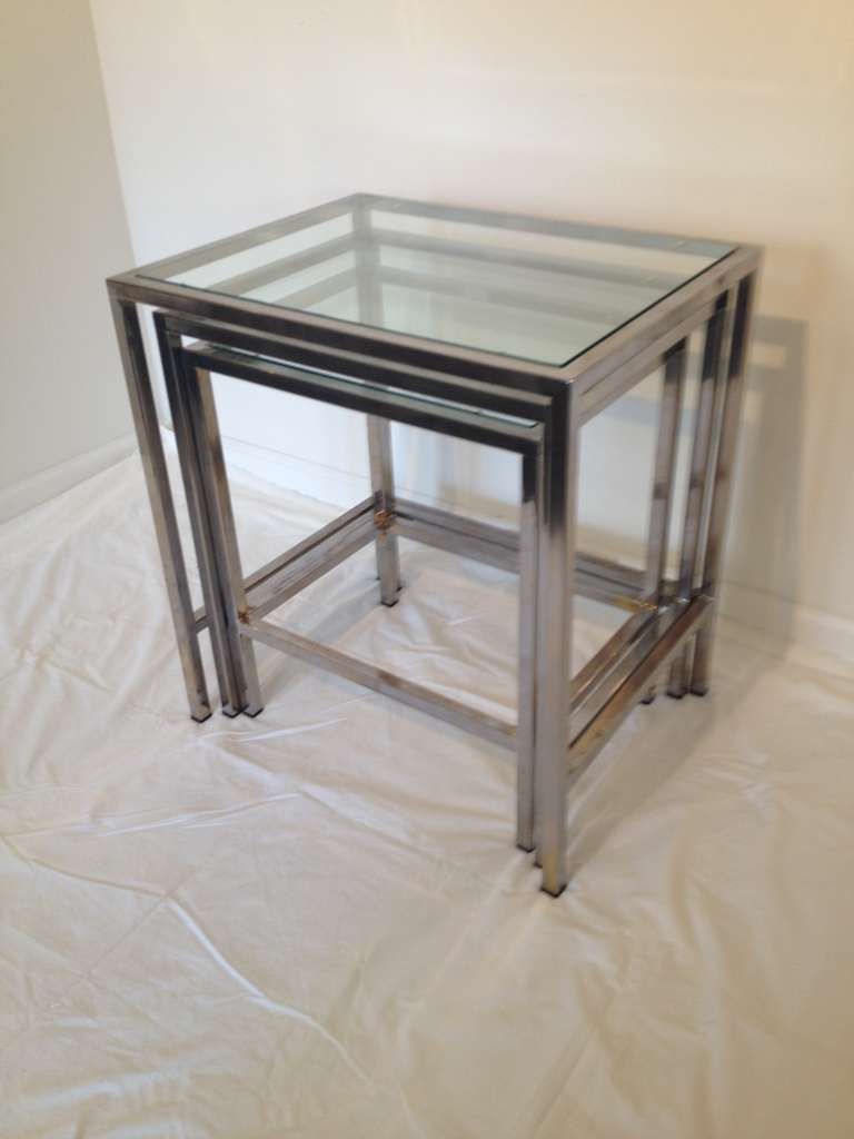 Milo Baughman Style Polished Chrome Glass Top Nesting Tables For Sale At 1stdibs