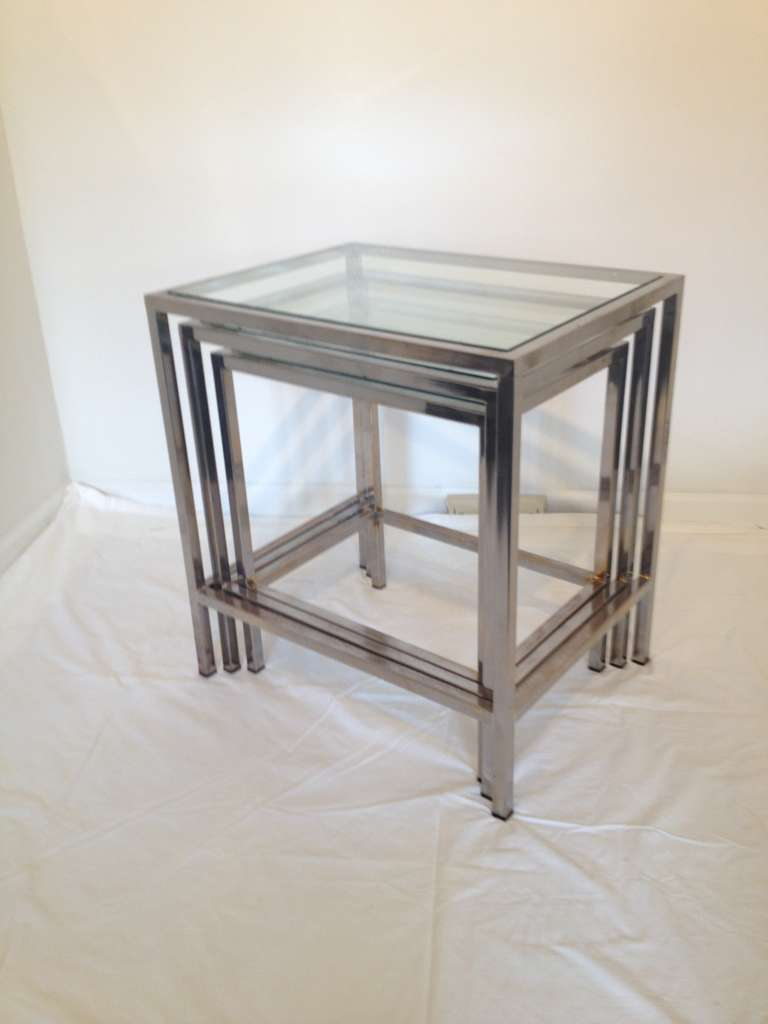 Glass Nesting Tables ~ Milo baughman style polished chrome glass top nesting