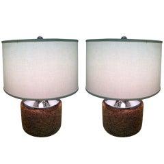 Pair of Mirror Chrome Cork Lamps