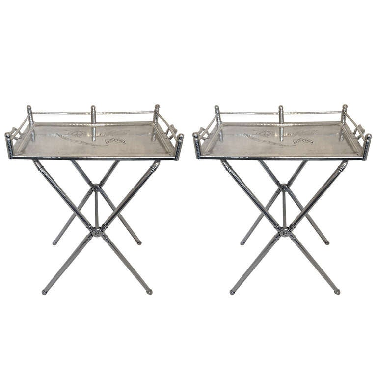 Pair of Everlast Polished Aluminum Folding Bar Tray Tables