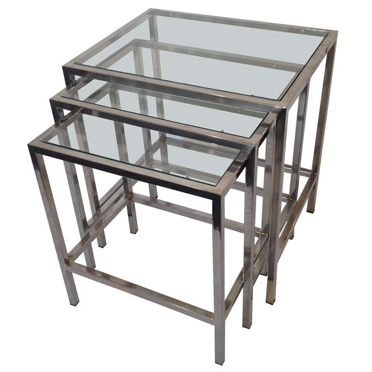 milo baughman style polished chrome glass top nesting