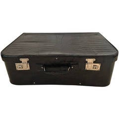 Art Deco Black Alligator Suitcase