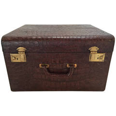 Brown Alligator Travel Trunk