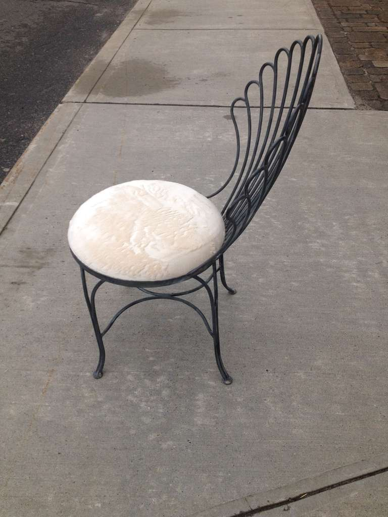 Pair of french zinc metal chairs at 1stdibs