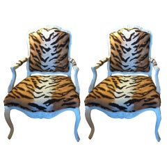 Pair painted Fauteuil Chairs