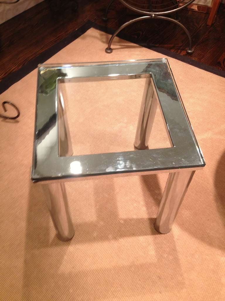 Mid-Century Modern Milo Baughman Style Polished Chrome Glass Small End Table For Sale