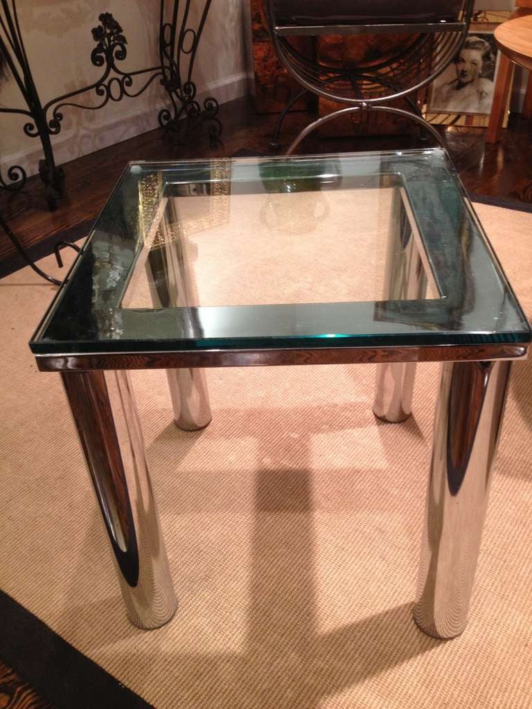 Milo Baughman Style Polished Chrome thick glass top small side table