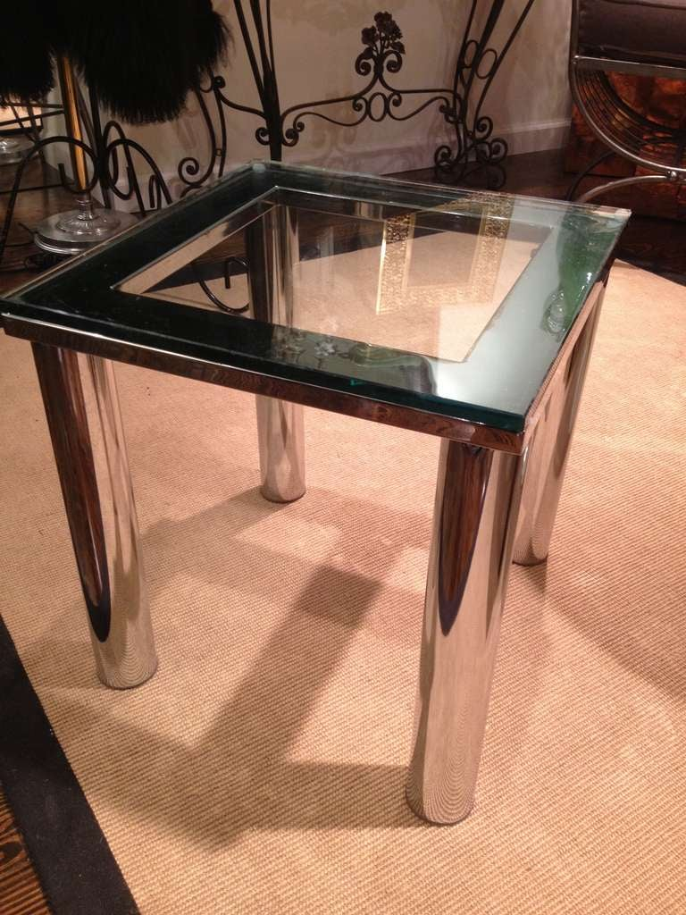 American Milo Baughman Style Polished Chrome Glass Small End Table For Sale