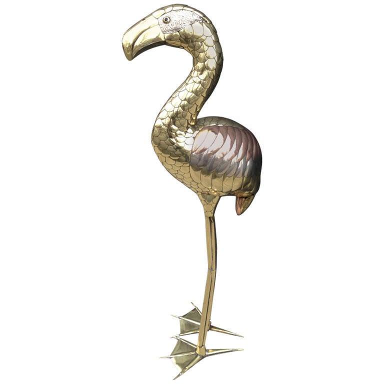 Sergio Bustamante Flamingo Standing Sculpture