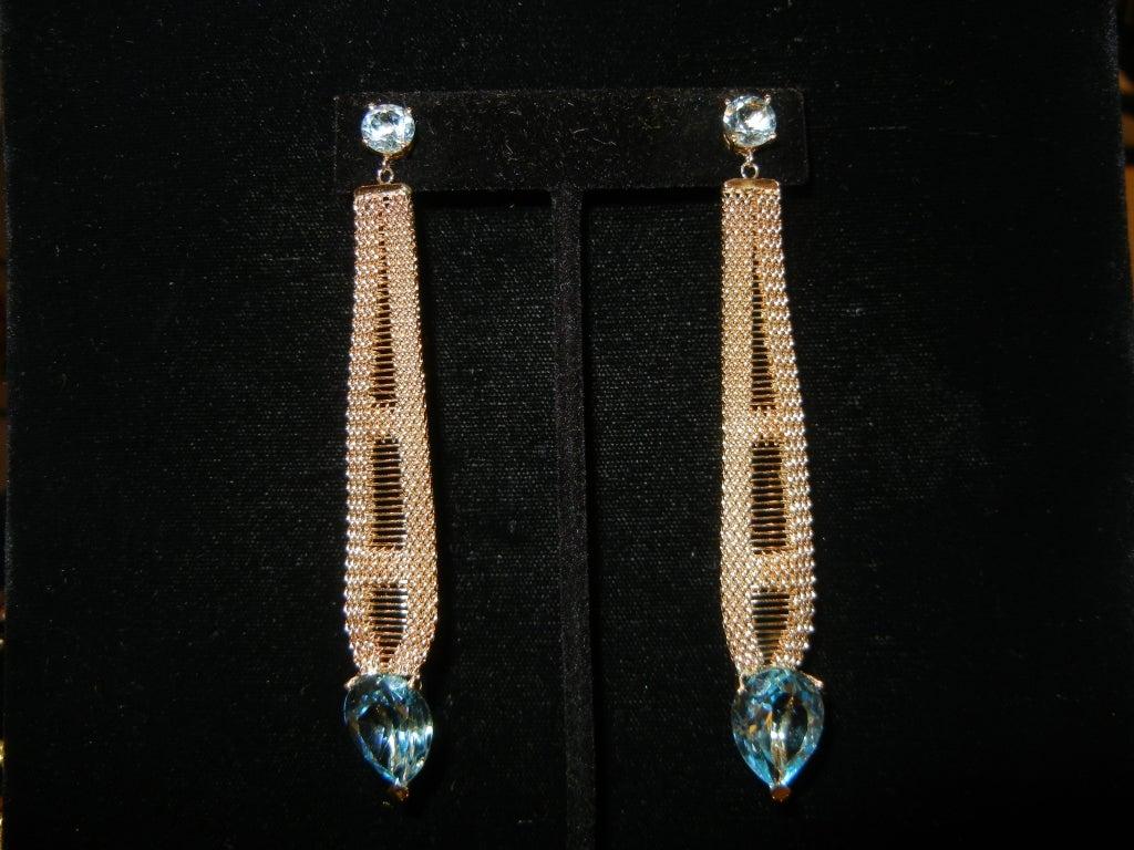 14k blue topaz Long earrings top stone app 1.5 pear shape topaz app 9-10ct