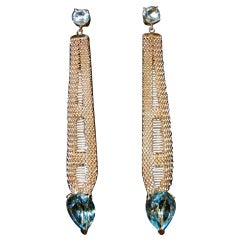 Long 14k Blue topaz earrings circa 1960's