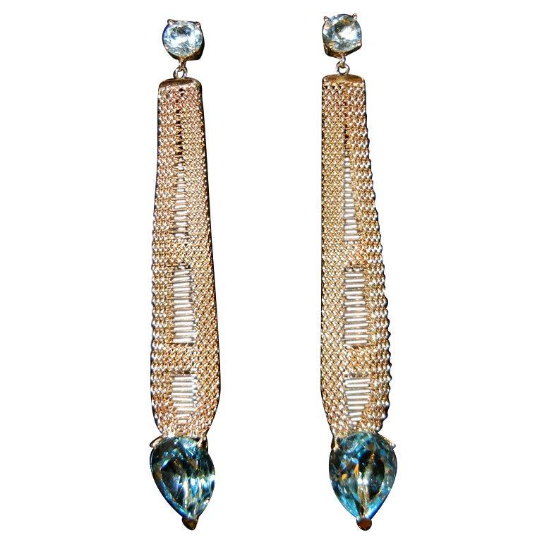 Long 14k Blue topaz earrings circa 1960's For Sale