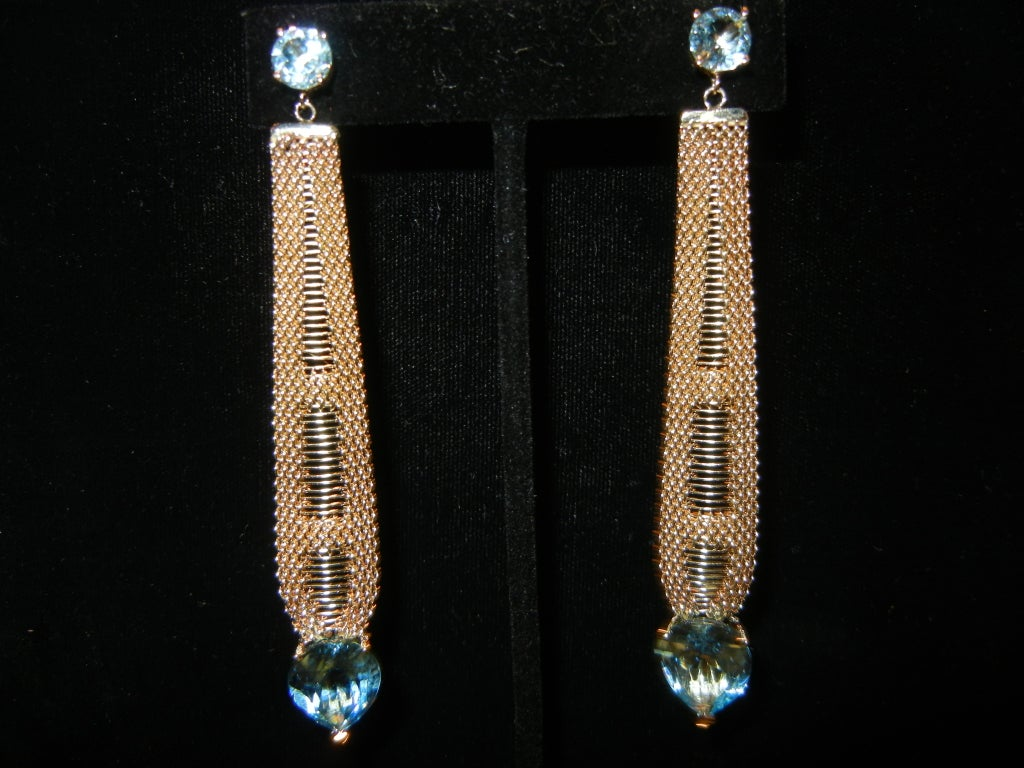 Mid-Century Modern Long 14k Blue topaz earrings circa 1960's For Sale