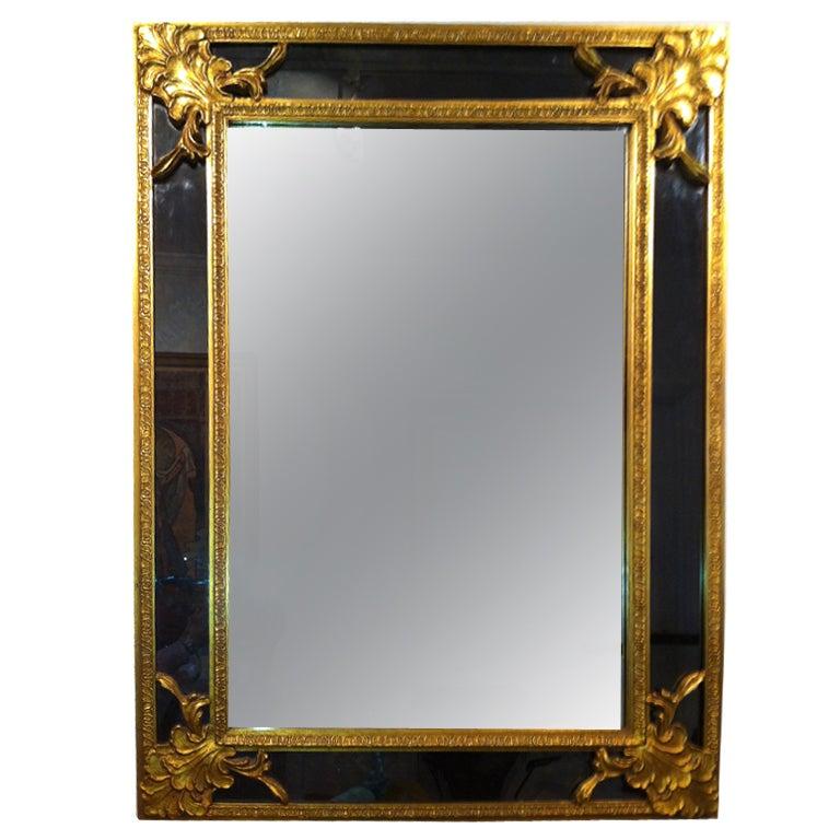 Hollywood Regency Large Gold Leaf Charcoal Black Glass Mirror