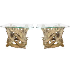 Pair Driftwood Gesso Washed End Tables