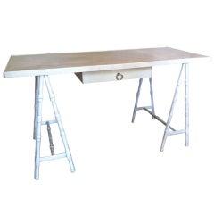 leather trestle desk Madame Vanacky