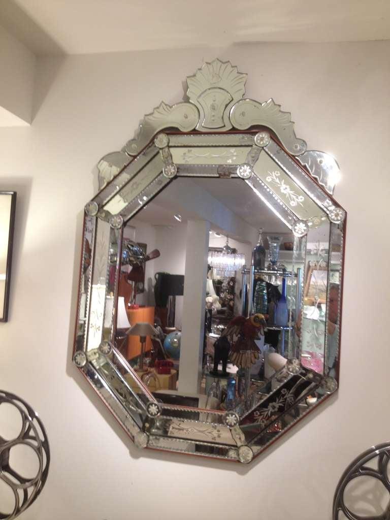 Vintage 1930 S Venetian Etched Beveled Mirror At 1stdibs