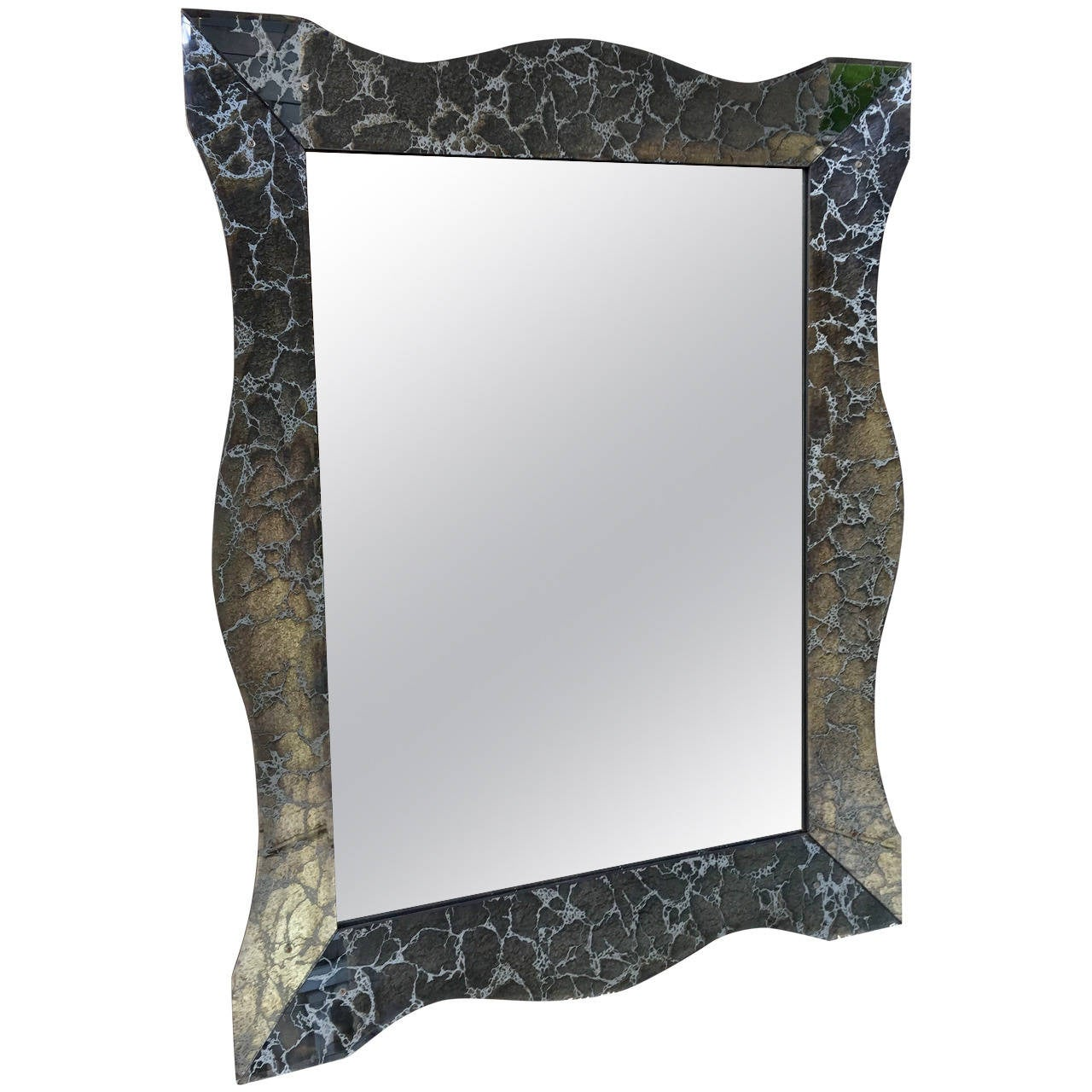 Large Hollywood Regency Charcoal Silver Vein Beveled Mirror