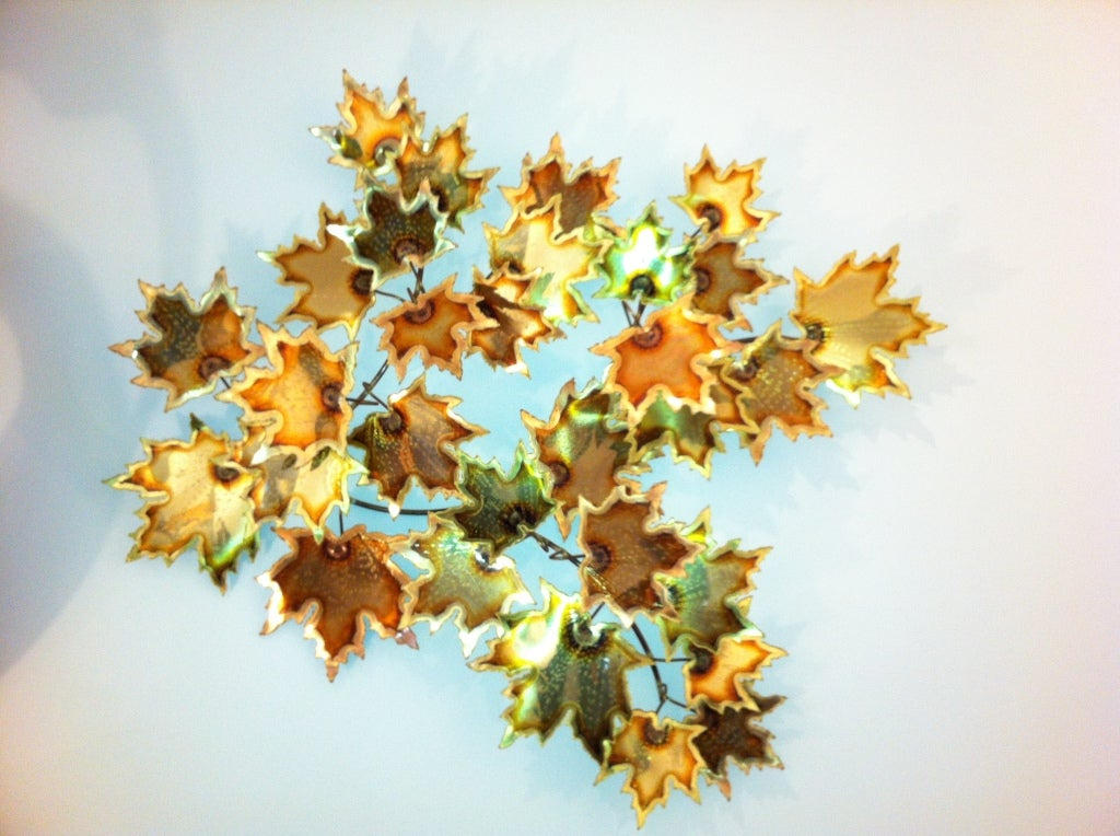 American Brass Wall Leaf Sculpture For Sale