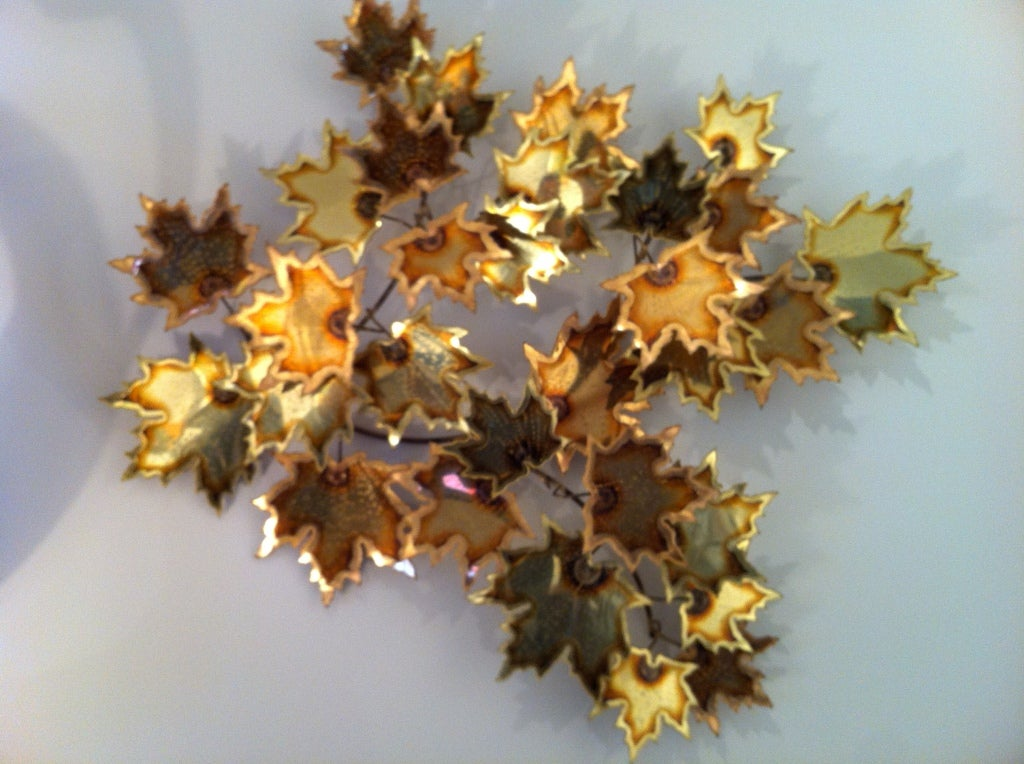Brass Wall Leaf Sculpture In Excellent Condition For Sale In Westport, CT